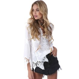 Wholesale white boho tunic - Elegant Summer Women Crochet Floral Lace Blouse Shirt 3 4 Sleeve White Tunic Blouses Boho Girls Hollow Tops