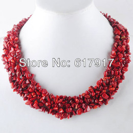 Wholesale gem weave - whole saleFree Shipping Jewelry 4x8mm Red Coral Gem Stone Chip Beads Weave Necklace 17 1 2 Inches TH3074