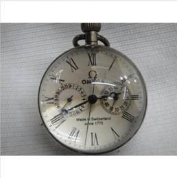Onda chinesa on-line-polegadas / Obras CHINESE vintage BRASS GLASS relógio de bolso BOLA relógio