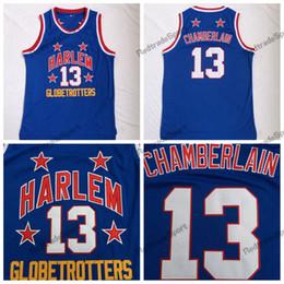 c3391e422 Mens Wilt Chamberlain Harlem Globetrotters  13 Cheap Basketball Jersey  Vintage Blue Wilt Chamberlain Basketball Embroidery Shirt