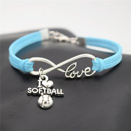 Wholesale sports team jewelry - AFSHOR Punk Sport Antique Silver I Love Softball Pendant Charm Leather Suede Bracelet for Women Men Softball Team Gift Infinity Love Jewelry