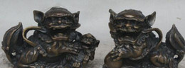 chinesisch foo hund statue paar Rabatt Chinese Bronze Fengshui Foo Fu Hund Guardion Lion Familie Bösen Geistern Statue Pair