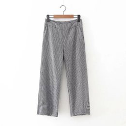 0026dcf8854 Vintage ZA Houndstooth Pattern Contrast Color Loose Wide Leg Pants Trousers  Femme Casual Women Loose Capris Calf-Length Pants