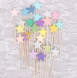 Wholesale baby shower stars - Cupcake Toppers Golden Star Paper Cake Toppers Children Favors Decorations For Wedding Baby Shower Cake Tools CCA10081 300pcs