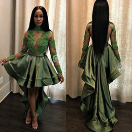 Wholesale High Low Homecoming - High Low African Prom Dress Cheap A line High Neck Illusion Long Sleeves Lace Applique Sequins Ruched Homecoming Cocktail Dress Gowns