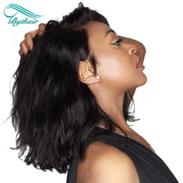 Wholesale brazilian deep wavy - Bythair Short Bob Wavy 13x6 Deep Parting Lace Front Human Hair Wigs Natural Wave Pre-Plucked Glueless Lace Front Wig With Baby Hairs