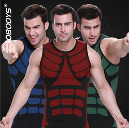 Wholesale Men Hot Shaper - Hot Sale Body Shaper Male O- Neck Vest Quik Dry Slim Double Colors Casual Corset Shapers Men ZEROBODYS S-XL Red Blue Green