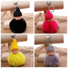 Joli sac de couchage en gros en Ligne-Mignon dormir poupée porte-clés pompon lapin boule de fourrure bébé jouet porte-clés duveteux voiture porte-clés sac porte-clés en gros