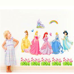 Conto de fadas adesivos on-line-Conto de fadas clássico Mundo Neve Branco adesivos de parede, murais de cabeceira quarto das crianças decorativas, meninas quarto dos desenhos animados papel de parede