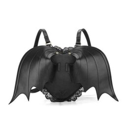 Wholesale Backpack Bat Bags - The black love makes the devil bat wings double shoulder bag lady's individual backpack female bag wholesale