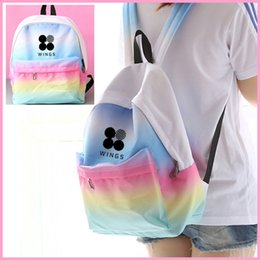 Wholesale Exo Bags - 2018 Rainbow Children bookbag EXO BAP Daily Laptop Backpack Kpop BTS Backpack for Teenagers Hip Hop Girls Boys School bag