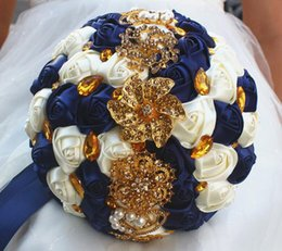 Wholesale High Quality Wedding Bouquet - Fashion Navy And Cream Flowers Wedding Bouquets With Gold Crystal Rhinestones High Quality 2018 New Designer Stunning For Wedding Bridal