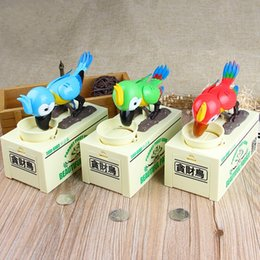 Wholesale Fantasy Money - Cartoon Piggy Bank Parrot Automatic Stole Coin Saving Money Box For Children Gift Multi Color 25 48xf C