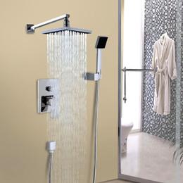 Wholesale Pressure Arm - New Wall Mounted Rainfall Shower Head Arm Control Valve Handspray Faucet Set Bathroom High Pressure Shower Set Sale
