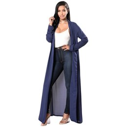 Bikini de señoras delgadas online-Sexy Thin Cardigans largas mujeres gasa Maxi Cover Up Front Open de manga larga playa piscina Bikini Ladies suelta Cover Up Coat azul