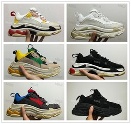 Wholesale Vintage Brown Shoes - 2018 FW Retro Triple S Sneaker Mens Fashion Vintage Kanye West Old Grandpa Trainers Casual Shoes Size 36-45