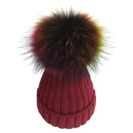 Wholesale Grey Fur Raccoon - Colorful Real Raccoon fur Pompons Hat Fashion Women's Winter Warm Hat Beanies Knitted Thick Fur Poms Gorro For Lady Girls Bonnet