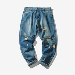 Wholesale Korean Autumn Street Fashion - 2018 Spring And Autumn New Men's Fashion Trend Of TheOriginal Korean Hole Street Jeans Denim Youth Slim Wild Casual PantsThicker