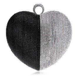 Wholesale Heart Shape Clutches - Luxury Heart Shaped Evening Bags Lady's Diamond Clutch Handbags Lady Hard Love Style Evening Clutch Bag Mini Shoulder Purse