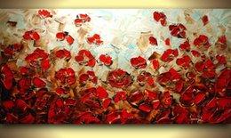 Flor faca pinturas a óleo on-line-Handmade boa qualidade pinturas a óleo contemporâneas papoulas vermelhas pinturas a óleo da flor textura pesada faca óleo lona decoração início