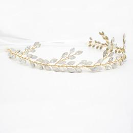 Wholesale Antique White Ribbon - 2018 Best Sale Wedding Hair Vine Opal Marquise With White Ribbon Hair Adornments Handmade Bridal Headpieces Tiaras Bridal Accessories