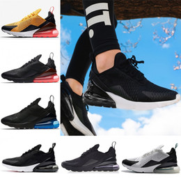 Wholesale lace punch - 2018 Air Mens 270 Running Shoes 270s Women Sneaker Hot Punch Triple Black White Oreo Teal Photo Blue Sports Sneakers Size 36-45