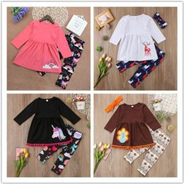 Wholesale Turkey Clothes Wholesalers - Kids Baby Girl Outfits Unicorn Reindeer Clothes Outfits T-shirt Tops Dress + Long Pants set Turkey Animals Kid Clothing Cotton Toddler A08