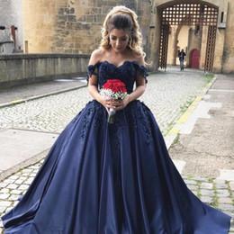magnifique robe de bal bleu foncé Promotion Robe de bal bleue marine magnifique robe de Quinceanera au large de l'épaule Appliques Satin perlé vert foncé Sweet 16 robes Robe de bal