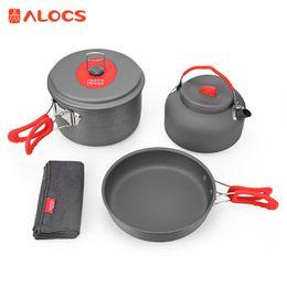 2019 lager kochtopf ALOCS Portable Outdoor Kochgeschirr Set 2 - 3 Personen Ultraleicht Kochset Pot Pan Kettle Geschirrtuch für Camping Wandern günstig lager kochtopf
