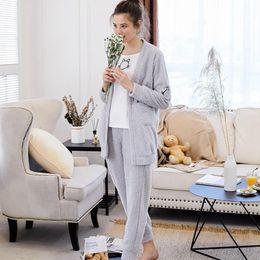 gatinhos de bolso Desconto Bu Nai outono e inverno novo bonito de lã de duas peças pijama coreano feminino gatinho bordado bolso serviço de casa casual