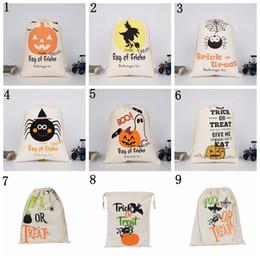 sagome di poltrone usate Sconti Tela di cotone Sacco di Halloween Favore di bambini Sacchetto di stoffa regalo Sacchetto di zucca ragno ossequio o dolcetto Borse con cordino Partito halloween CNY640