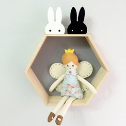 Wholesale Clothing Hangers Wholesale - Wholesale- Cute Bunny Wooden Clothes Hooks Kid Room Decoration Rabbit Hook Baby Child Room Eco-friendly Wall Hanger Hooks DIY