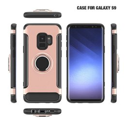 Wholesale Blackberry Rings - Magnetic Car Ring Case For Samsung S9 Shockproof Armor Case For Samsung Galaxy Note 8 S8 Plus S7 S6 edge For iPhone X 8 7 6 6s Plus