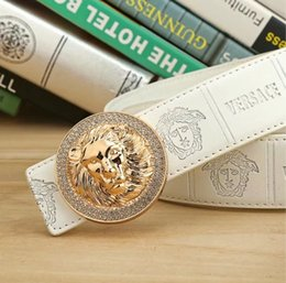 Wholesale lion buckle - Luxury Brand Mens Belt Real Genuine Leather Designer Lion and snake heads, fashionable men and women belt buckles