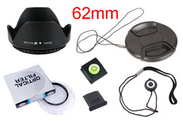 Wholesale center filter - 6 in1 62mm lens UV filter + 62mm center pinch Snap-on cap cover + lens cap line hood 2 hot shoe with track number