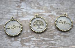 cuerdas de bronce Rebajas 10 unids / lote árbol de la vida Encantos, cadena de vida de Bronce Antiguo tono Encantos Colgante 21x25mm