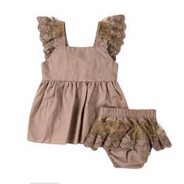 Верхнее нижнее платье из кружева онлайн-2Pcs Baby Clothing Newborn Baby Girl Lace Tops Bowknot Dress Pants Bottoms Cute Outfits Clothes Set 0-2T