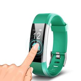 Billige uhrenarmbänder online-2018 preiswerte preis lcd-bildschirm ID115 Plus Smart Armband Fitness Tracker Pedometer Uhrenarmband Herzfrequenz Blut für sport mode
