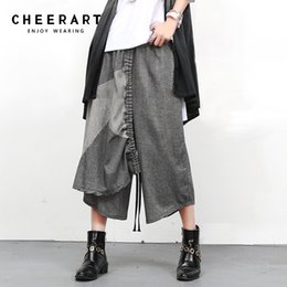 Wholesale Pleated Pants Cropped - Cheerart Cropped Cotton Linen Pant Women Summer Pants Capris Patchwork Elastic aist Loose Hip Hop Dance Trousers Women