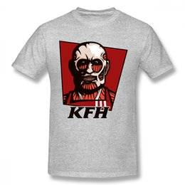 Camisetas de diseño gráfico online-Attack On Titan Tees High - Q Kentucky Fried Human T Shirt Diseño superior para Boy 2018 Newunisex Graphic Homme camiseta