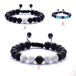 Wholesale Turquoise Stone Jewelry For Men - 3 Styles Natural Turquoise Black Lava Stone Bead Weave Perfume Bracelet Aromatherapy Essential Oil Diffuser Bracelet For Women Men jewelry