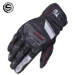 Wholesale Real Motorbikes - Carbon Fiber Motorcycle Gloves Real Leather Motocross Glove Bicycle Cycling Motorbike Motocicleta Guantes Moto Guantes Luvas