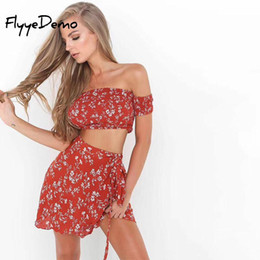 e6be97648284 2018 Summer 2 Piece Set Women Sexy Off Shoulder Slash Neck Drawstring Bow  Floral Print Tops Skirts Set Female Beach Outfits