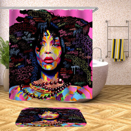 Wholesale showers curtains - Afro Hairstyle African Woman Shower Curtain Waterproof Polyester Fabric Afro African Home Bathroom Curtains with 12 Hooks Bath Curtain
