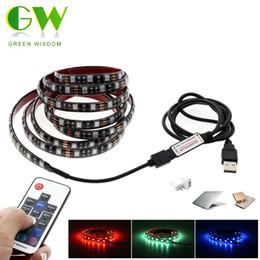 Wholesale Led Strip 12v 1m - DC5V RGB LED Strip 5050 USB TV Background Lighting 60LEDs m with 17Key RF Controller 50cm   1m   2m Set