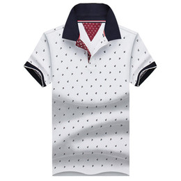 Wholesale collar polo shirt men - New Brand Polos Mens Printed Polo Shirts Cotton Short Sleeve Camisas Polo Casual Stand Collar Male Polo Shirt 4XL Eda234
