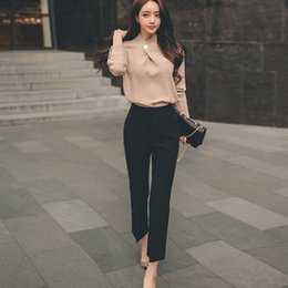 Office Lady Two Piece Set 2018 Spring Women Suit Formal Chiffon rosa  Camicie maniche lunghe Top + Pantaloni neri da lavoro 55efabd0176