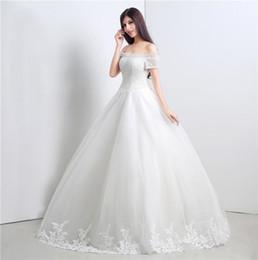e82cf36024d 2019 Elegant White Dresses Boat Neck Short Sleeves Ball Gowns Tulle Long  Wedding Party Bride Dresses For Women Wedding Dresses Gowns DH4232