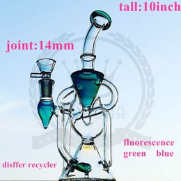 Wholesale Toro Water Bongs - glass factory Toro Glass Tripline Beaker Klein Recycler color arms perc pink purple bongs glass water pipes with tree percs oil rigs dab