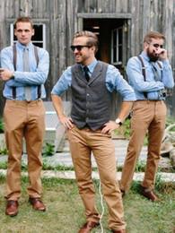 Wholesale mens wedding dressing suit - 2018 Country Farm Wedding Brown Wool Herringbone Tweed Vests Custom Made Groom Vest Slim Fit Mens Suit Vest Waistcoat Dress Real Imag